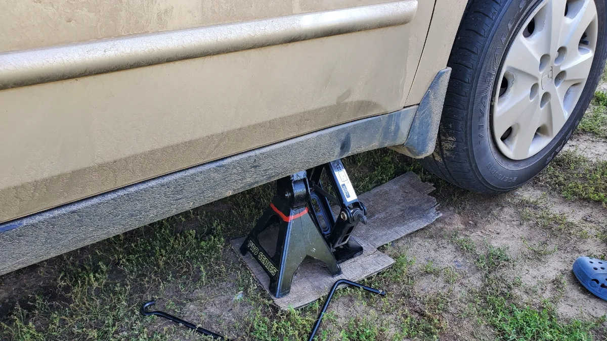 Honda Accord Being Jacked up with jackstand