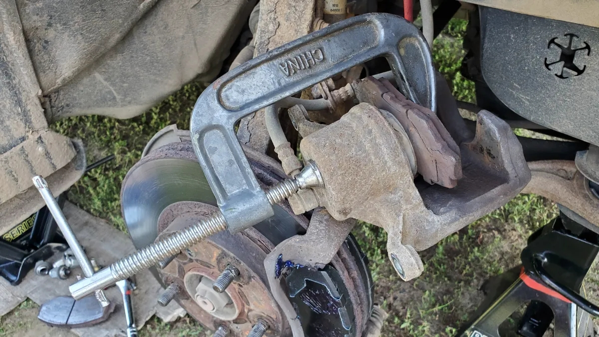 Old School method to compress brake caliper cylinder C clamp