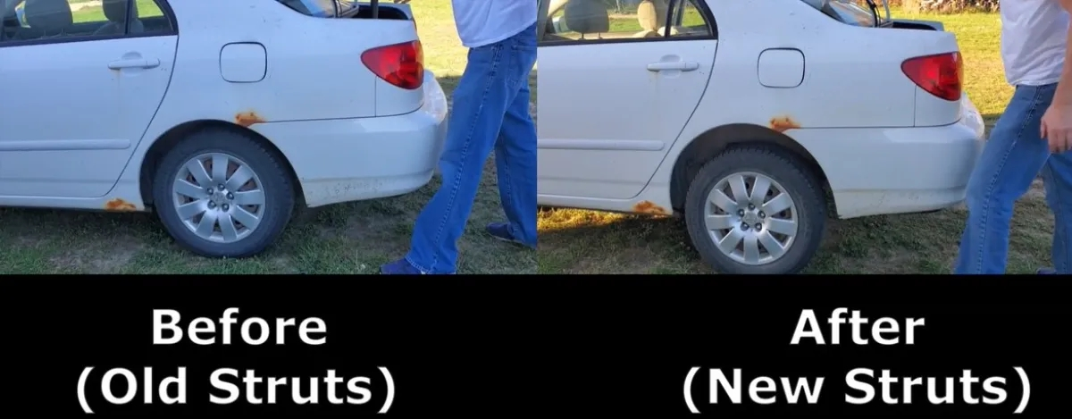 Before and After rear strut replacement  Toyota Corolla